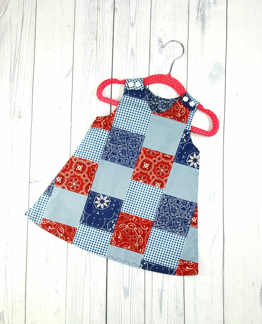 Girls Reversible Patriotic Dress, Patchwork dress, Infant Dress, Toddler Dress
