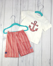 Load image into Gallery viewer, Striped Red Anchor appliqued shorts two piece set in size 12 months *