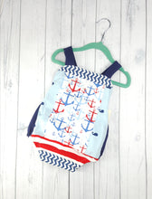 Load image into Gallery viewer, Toddler Boys Size 12/18 months Summer Romper, Patriotic Jumper, Anchors Romper