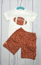 Load image into Gallery viewer, Football fans cute two piece infant short and T shirt set in size 12 months. *