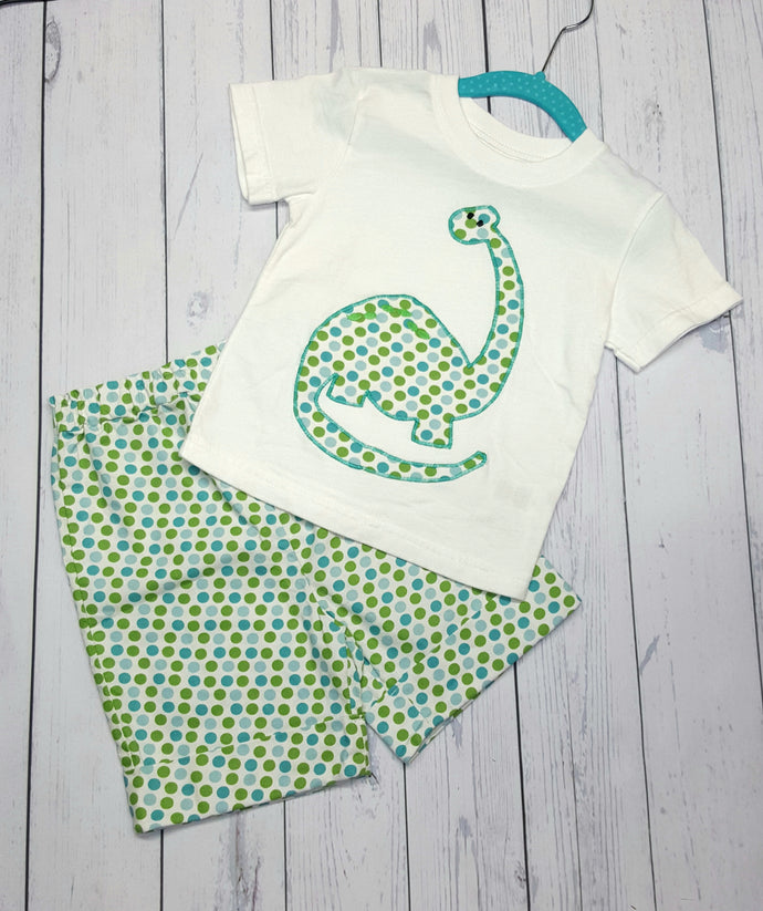 Polka dot dinosaur toddlers two piece shorts and T shirt set in size 18 months. *