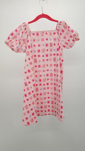 Simply Sweet Pink Hearts & Flowers Summer Dress Size 5-6