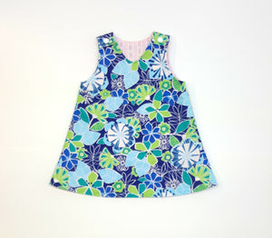 A-Line Blue Floral Reversible Dress ~ Multiple girls Sizes