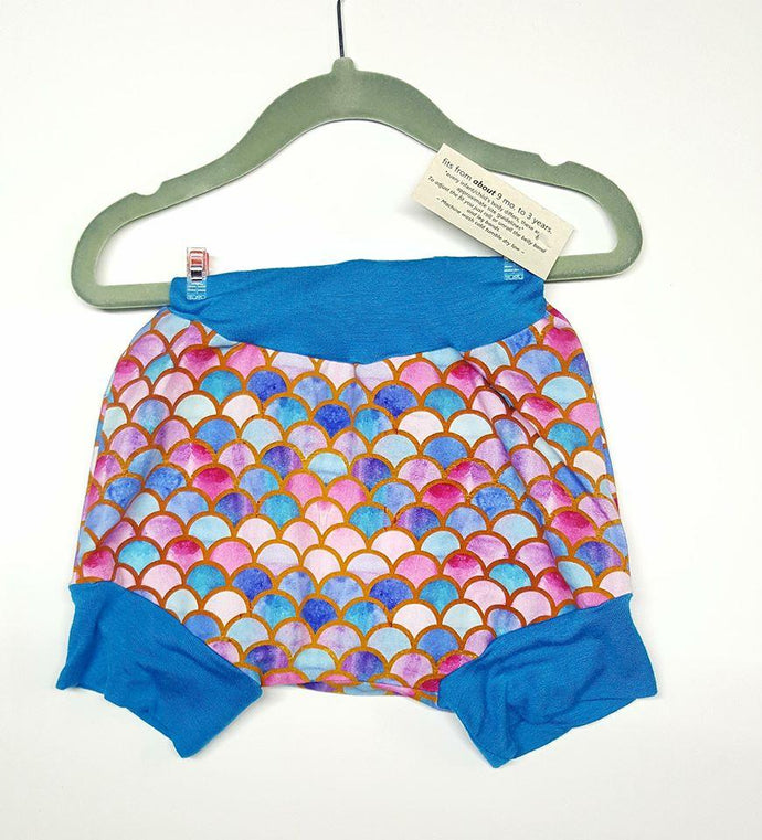 Mermaid scales, grow with me shorties for infants - toddlers *