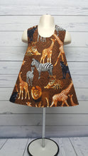 Load image into Gallery viewer, Safari Animals Reversible Pinafore Dress  sizes NB, 12mo, 3T, 4T *