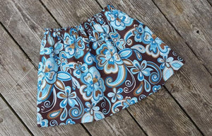 Summer Brown and Blue Floral skirt, Size 18 months