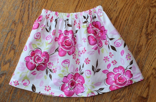 Summer Pink and White Floral Skirt Size 2T & 5T