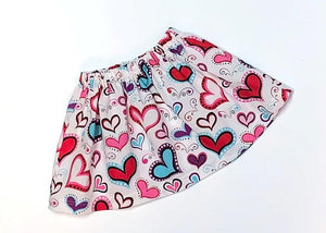 Summer Red and Pink Hearts Skirt, Sizes: 18mo, 3T, 4T, 5T, & girls 6