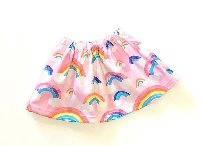 Summer Pink Rainbow Skirt, Sizes: 18mo, 2T, & 3T