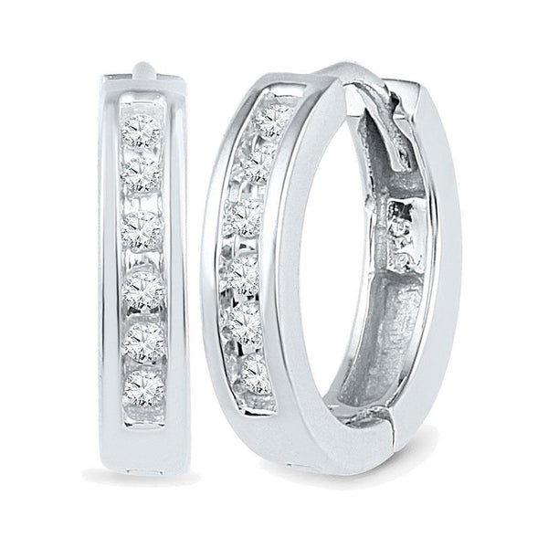 10K White Gold Round Diamond Hoop Earrings 1/8 Cttw - Gold Americas