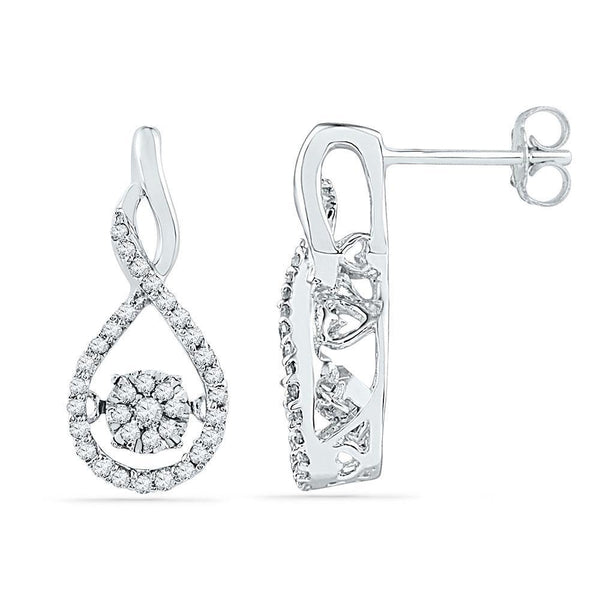 10K White Gold Round Diamond Moving Cluster Earrings 1/3 Cttw - Gold Americas