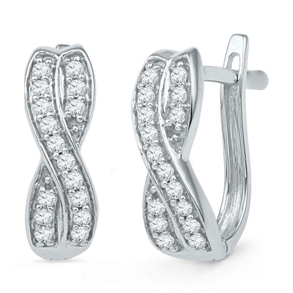 10K White Gold Round Diamond Double Row Crossover Hoop Earrings 1/5 Cttw - Gold Americas