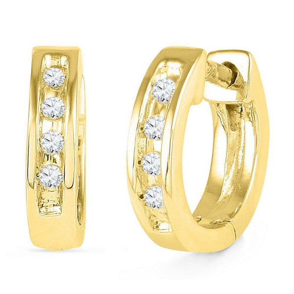 10K Yellow Gold Round Diamond Single Row Huggie Earrings 1/20 Cttw - Gold Americas