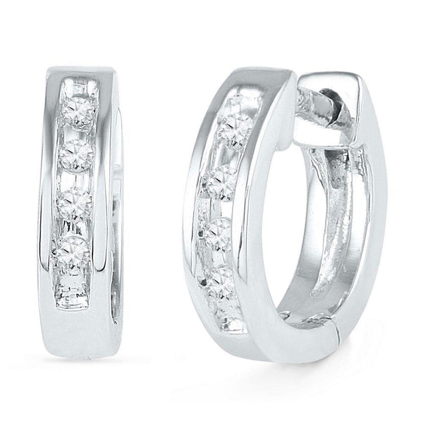 10K White Gold Round Diamond Single Row Huggie Earrings 1/20 Cttw - Gold Americas