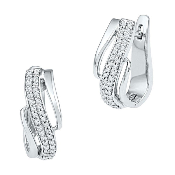 10K White Gold Round Diamond Diagonal Double Row Hoop Earrings 1/4 Cttw - Gold Americas