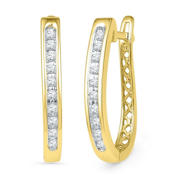10K Yellow Gold Round Diamond Slender Single Row Oblong Hoop Earrings 1/5 Cttw - Gold Americas