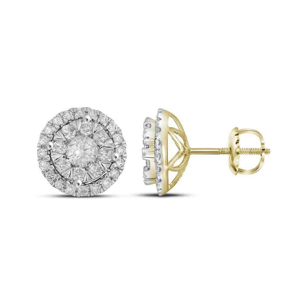 14K Yellow Gold Round Diamond Concentric Circle Frame Cluster Earrings 1.00 Cttw - Gold Americas
