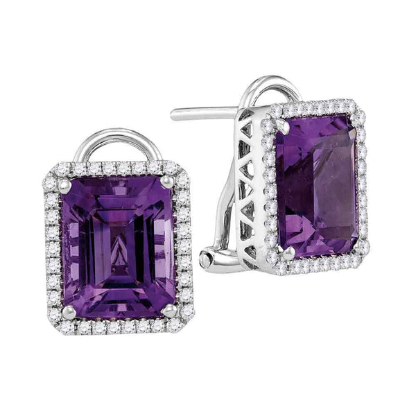 Emerald Amethyst Stud Diamond Accent Earrings