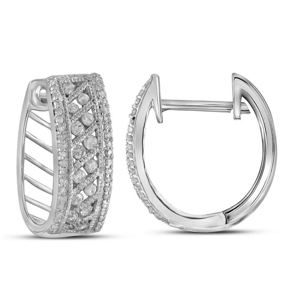 10K White Gold Round Channel-set Diamond Hoop Earrings 5/8 Cttw - Gold Americas