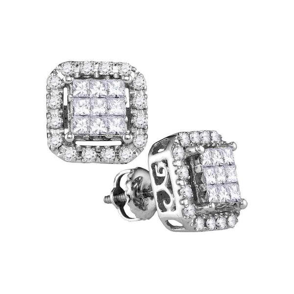 14K White Gold Princess Diamond Square Frame Cluster Stud Earrings 1.00 Cttw - Gold Americas