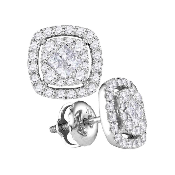 14K White Gold Princess Diamond Soleil Square Cluster Earrings 1/2 Cttw - Gold Americas