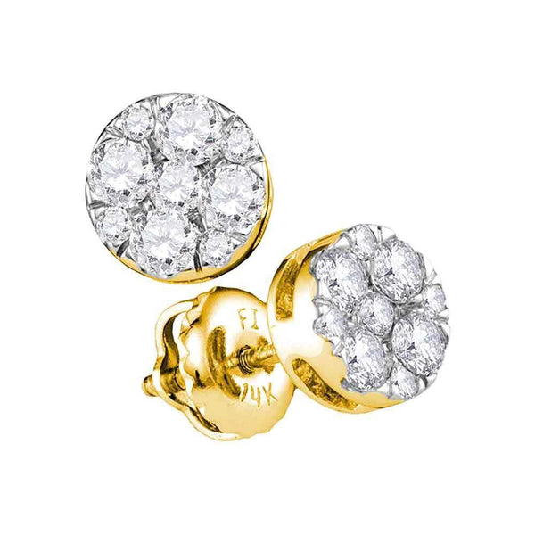 14K Yellow Gold Round Diamond Flower Cluster Stud Earrings 1/2 Cttw - Gold Americas