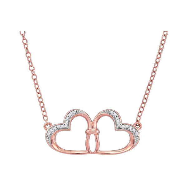10K Rose Gold Womens Round Diamond Heart Pendant Necklace 1/20 Cttw - Gold Americas