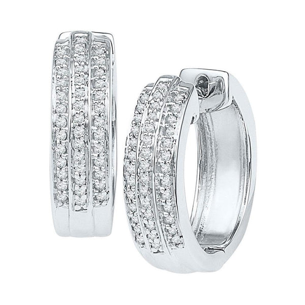 10K White Gold Round Diamond Triple Row Huggie Earrings 1/4 Cttw - Gold Americas