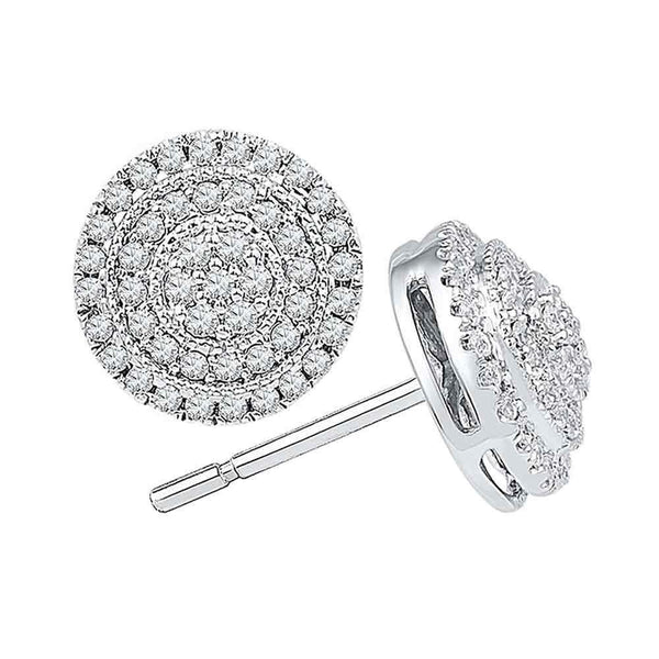 10K White Gold Round Diamond Concentric Cluster Earrings 1/2 Cttw - Gold Americas