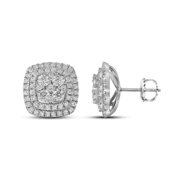 14K White Gold Round Diamond Double Square Frame Cluster Earrings 1-1/2 Cttw - Gold Americas
