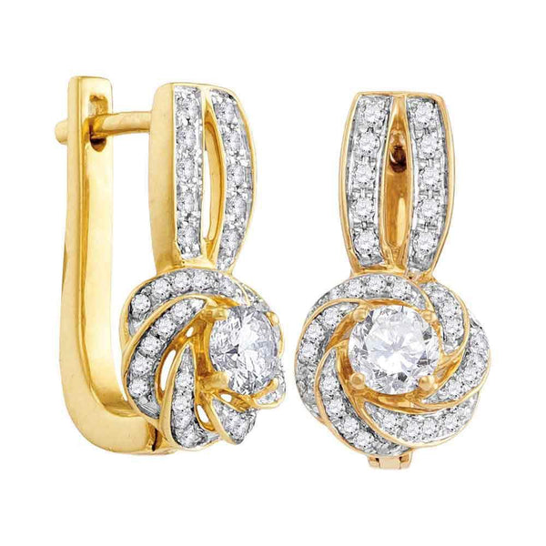 10K Yellow Gold Round Diamond Swirled Cluster Hoop Earrings 3/4 Cttw - Gold Americas