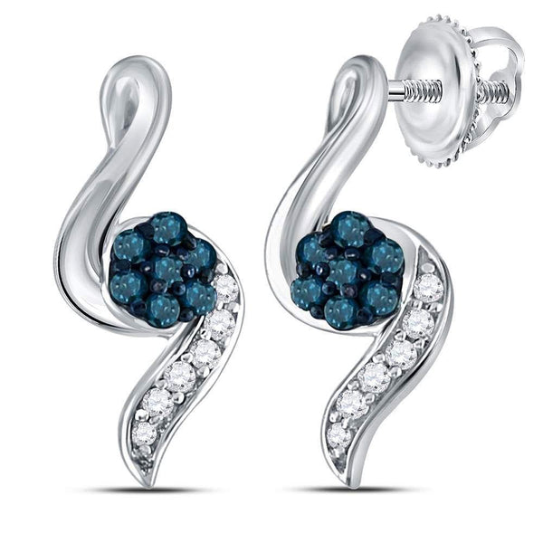 Sterling Silver Round Blue Color Enhanced Diamond Cluster Stud Earrings 1/5 Cttw - Gold Americas