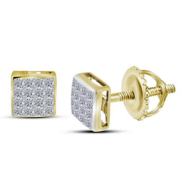 14K Yellow Gold Princess Diamond Square Cluster Stud Earrings 3/8 Cttw - Gold Americas