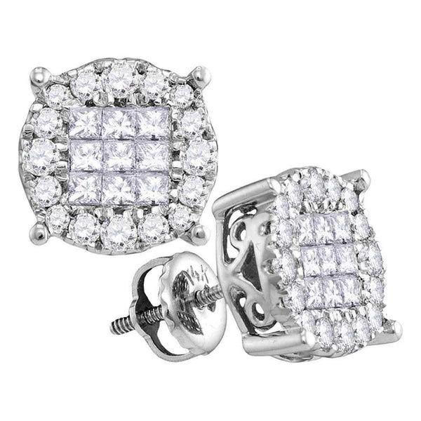 14K White Gold Princess Round Diamond Soleil Cluster Stud Earrings 1/4 Cttw - Gold Americas