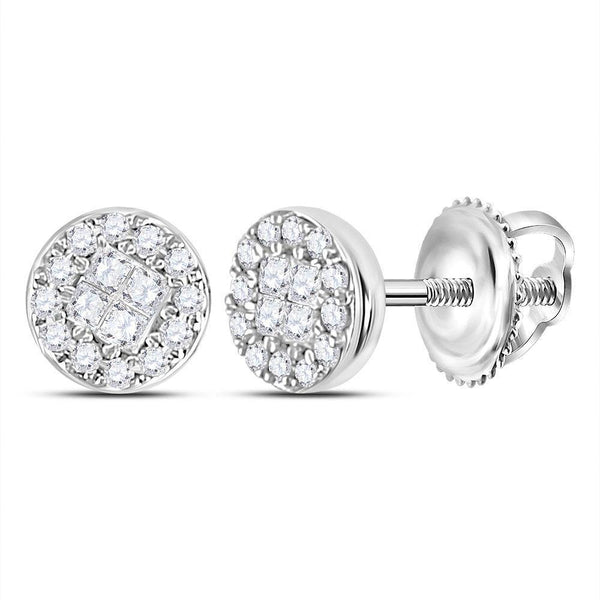 10K White Gold Princess Round Diamond Soleil Cluster Earrings 1/6 Cttw - Gold Americas