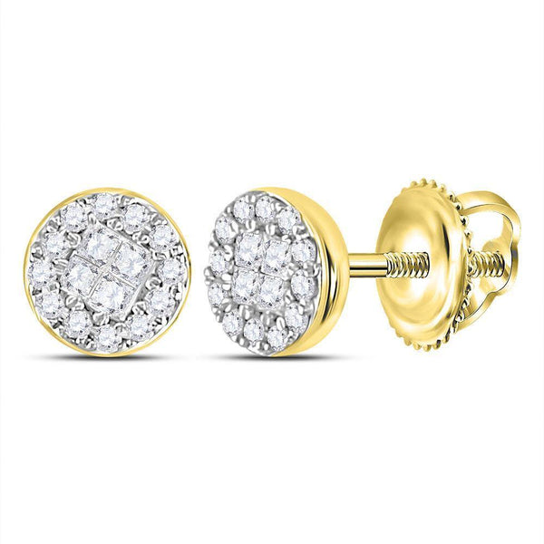 14K Yellow Gold Princess Round Diamond Soleil Cluster Earrings 1/6 Cttw - Gold Americas