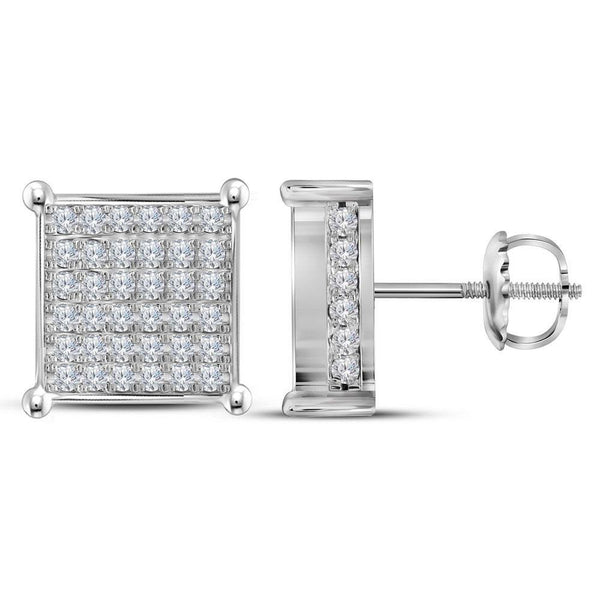 10K White Gold Round Diamond Square Cluster Stud Earrings 1-1/2 Cttw - Gold Americas