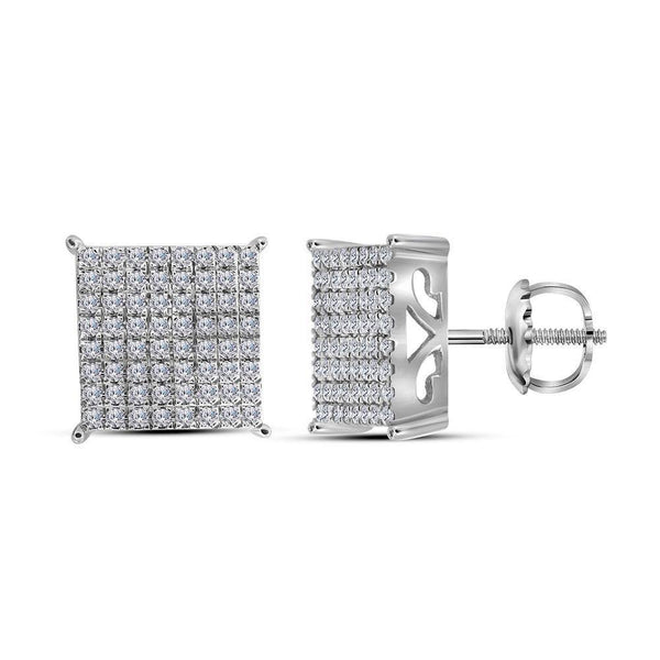 10K White Gold Round Diamond Cindys Dream Square Cluster Stud Earrings 1.00 Cttw - Gold Americas