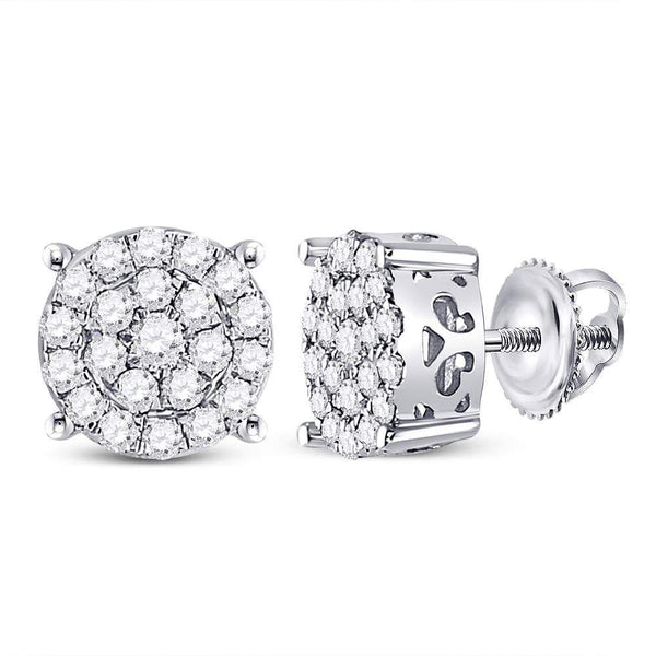 10K White Gold Round Diamond Cindy's Dream Cluster Earrings 3/4 Cttw - Gold Americas