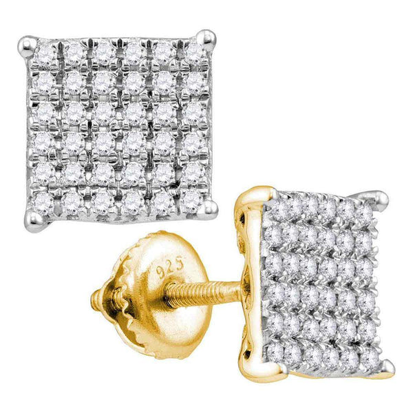 10K Yellow Gold Round Diamond Square Cluster Stud Earrings 3/4 Cttw - Gold Americas