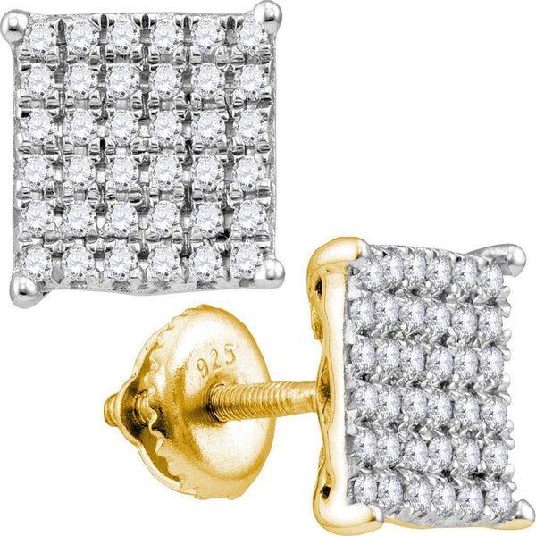10K Yellow Gold Round Diamond Cindys Dream Square Cluster Stud Earrings 1.00 Cttw - Gold Americas