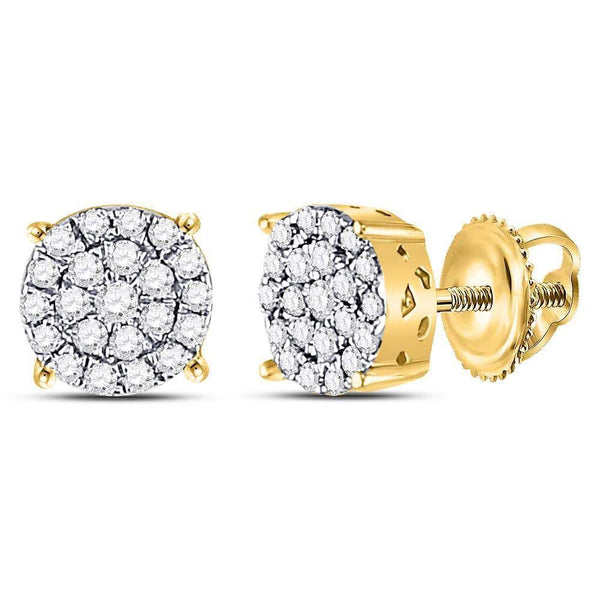 10K Yellow Gold Round Diamond Concentric Circle Cluster Earrings 1/4 Cttw - Gold Americas