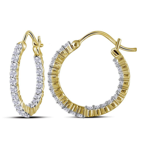 10K Yellow Gold Round Diamond Inside Outside Hoop Earrings 1.00 Cttw - Gold Americas