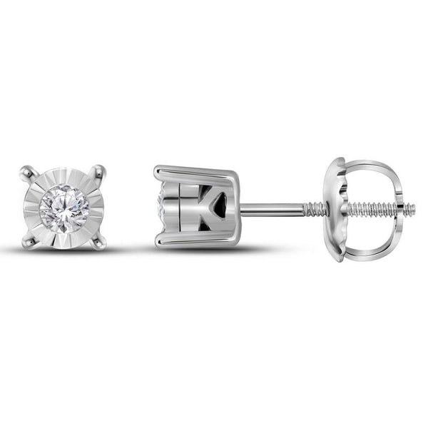 10K White Gold Round Diamond Solitaire Stud Earrings 1/10 Cttw