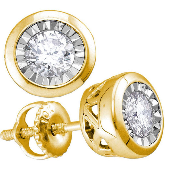 10K Yellow Gold Round Diamond Solitaire Stud Earrings 1/2 Cttw