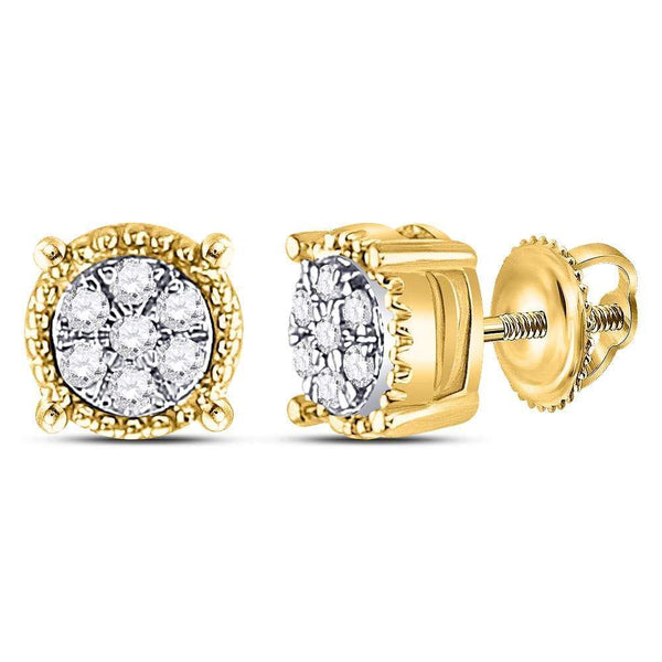 10K Yellow Gold Round Diamond Flower Cluster Milgrain Stud Earrings 1/10 Cttw - Gold Americas