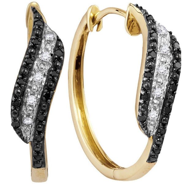 10K Yellow Gold Round Black Color Enhanced Diamond Hoop Earrings 1/5 Cttw - Gold Americas
