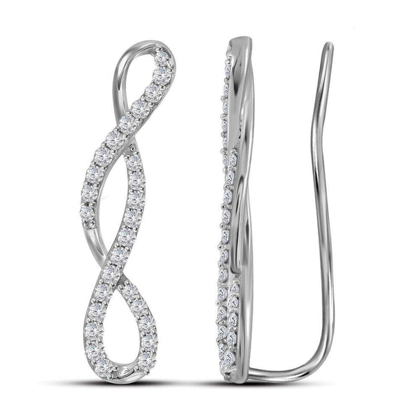 10K White Gold Round Diamond Infinity Climber Earrings 1/2 Cttw - Gold Americas
