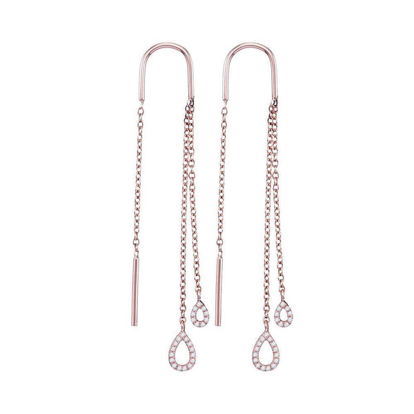 10K Rose Gold Round Diamond Double Teardrop Dangle Threader Earrings 1/8 Cttw - Gold Americas