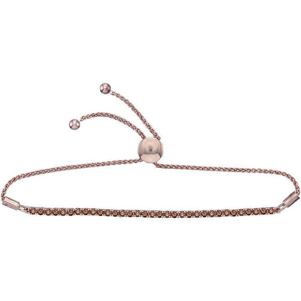 10K Rose Gold Round Natural Brown Diamond Bolo Bracelet 2.00 Cttw - Gold Americas